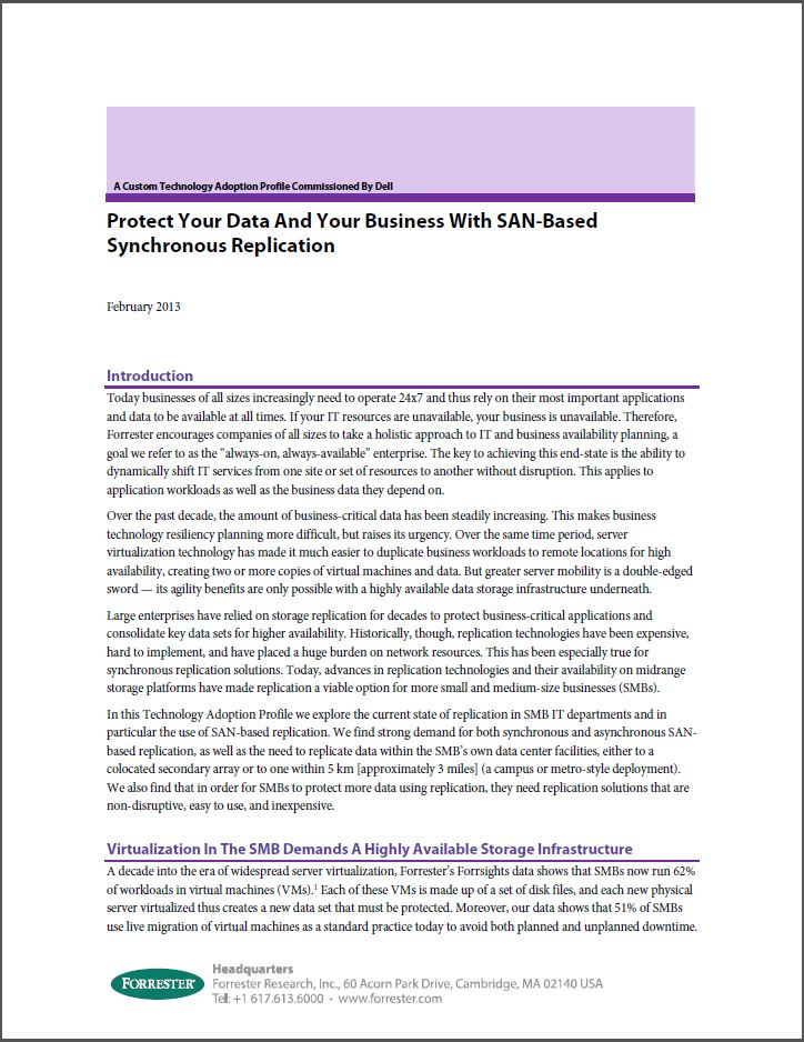 Forrester over SAN-based Synchronous Replication