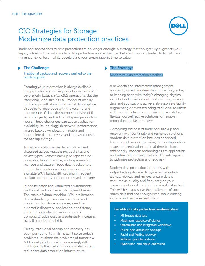 Storage-strategieën voor de CIO: Moderniseer uw dataprotectie-strategie