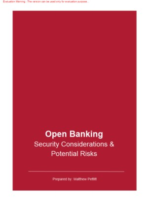 Open Banking: Security considerations & potential risks