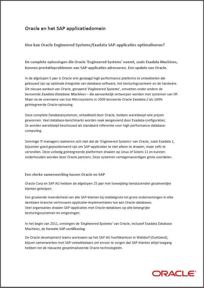 Hoe kan Oracle Engineered Systems/Exadata SAP-applicaties optimaliseren?