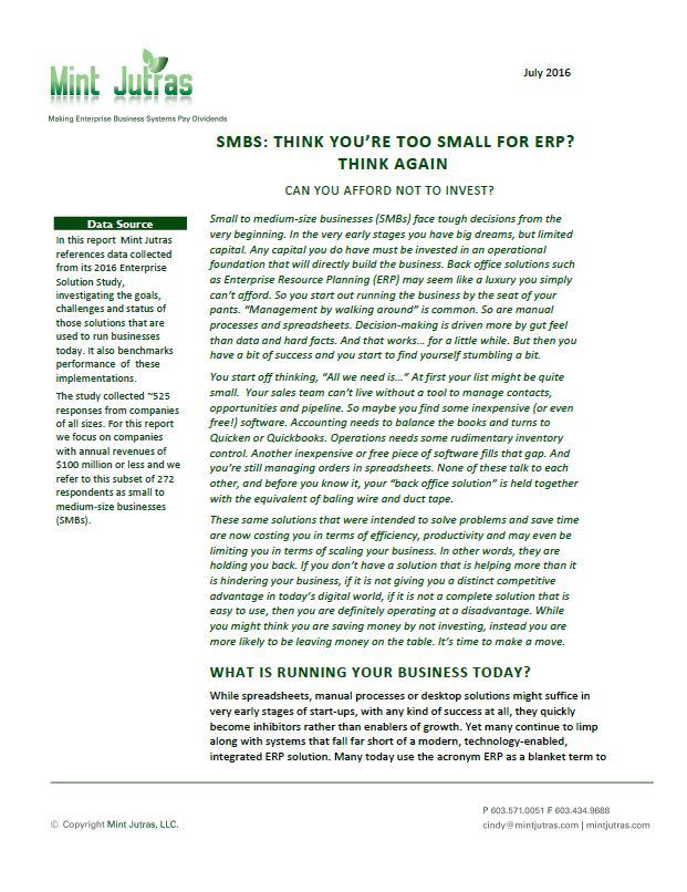 MKB: bent u echt te klein voor ERP?