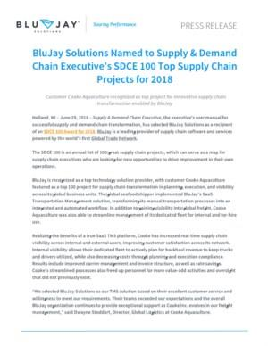 BluJay Solutions Named to Supply & Demand Chain Executive's SDCE 100 Top Supply Chain Projects for 2018
