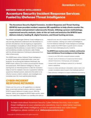 Accenture Security Incident Response Services Fueled by iDefense Threat Intelligence