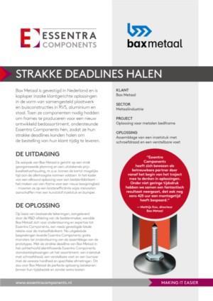 Bax Metaal - Casestudy - Strakke deadlines halen