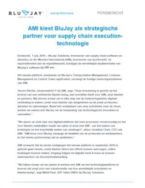AMI kiest BluJay als strategische partner voor supply chain executiontechnologie