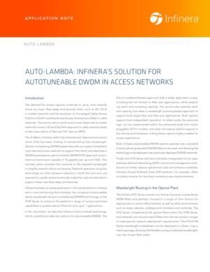 Auto-Lambda: Infinera's Solution for Autotunable DWDM in Access Networks