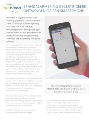 Brandalarmering gecertificeerd ontvangen op een smartphone