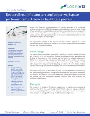 Reduced host infrastructure and better workspace performance for American healthcare provider
