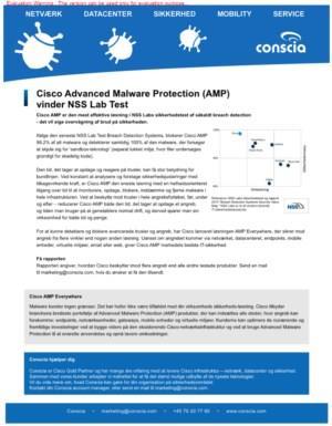 Cisco Advanced Malware Protection (AMP) vinder NSS Lab Test