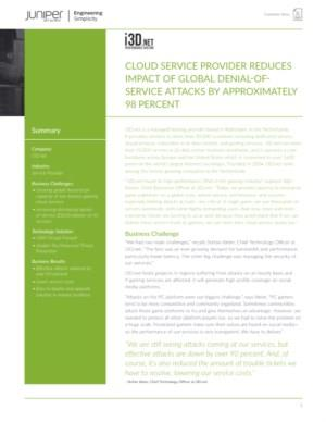 CLOUD SERVICE PROVIDER REDUCES IMPACT OF GLOBAL DENIAL-OFSERVICE ATTACKS BY APPROXIMATELY 98 PERCENT