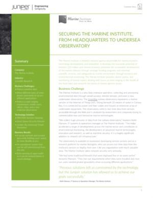 SECURING THE MARINE INSTITUTE, FROM HEADQUARTERS TO UNDERSEA OBSERVATORY