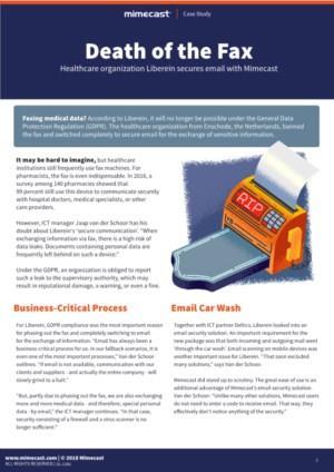 Zorgorganisatie Liberein doet fax in de ban en stapt over op veilige e-mail