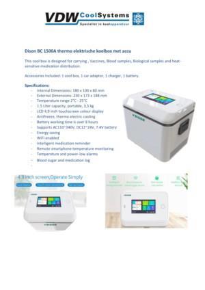 Dison BC 1500A thermo elektrische koelbox met accu