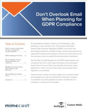 Vergeet e-mail niet bij uw planning voor GDPR Compliance