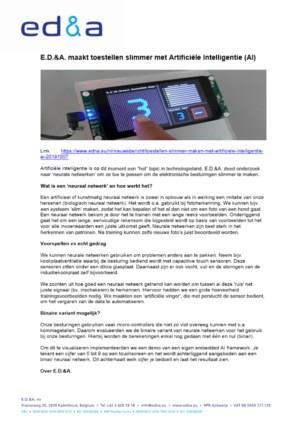 Elektronicafabrikant E.D.&A. maakt toestellen slimmer met Artificiële Intelligentie (AI)