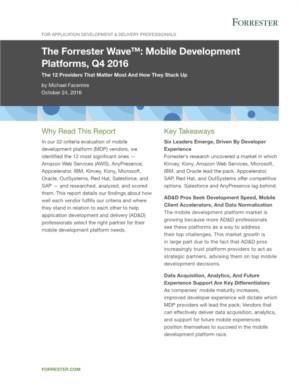 Forrester Wave: Mobile Development Platforms (MDP) aanbieders geëvalueerd