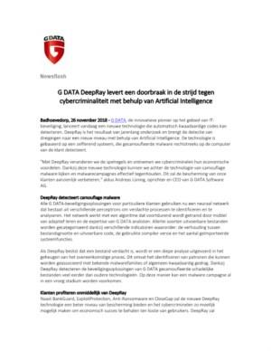 G DATA DeepRay levert een doorbraak in de strijd tegen cybercriminaliteit met behulp van Artificial Intelligence