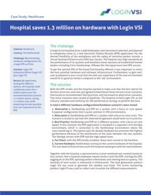 Hospital saves 1.3 million on hardware with Login VSI