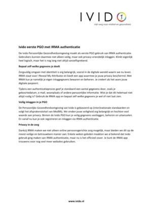 Ivido eerste PGO met IRMA authenticatie