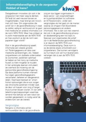 Informatiebeveiliging in de zorgsector. Hobbel of kans?