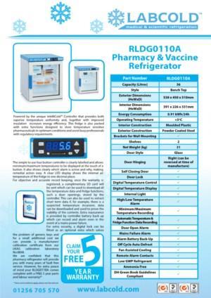 Labcold RLDG0110A compacte medicijnkoelkast met glasdeur