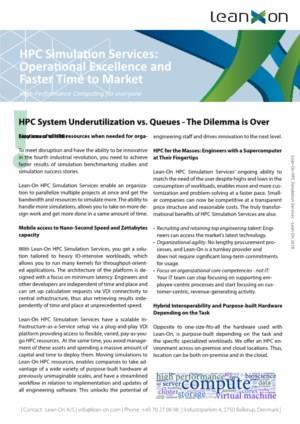 HPC Simulation Services: Operational Excellence and Faster Time to Market
