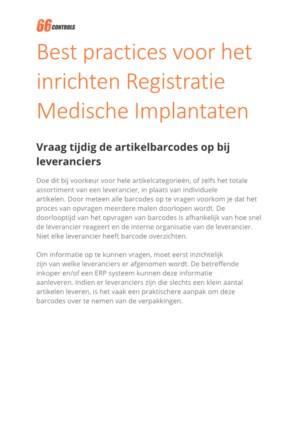 Best practices voor het inrichten Registratie Medische Implantaten