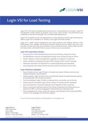 Login VSI - industry-standard for VDI load testing