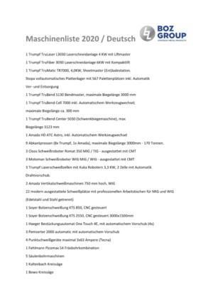 Maschinenliste 2020 / Deutsch