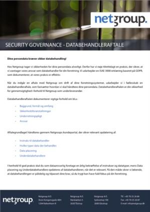 Security Governance - Databehandleraftale
