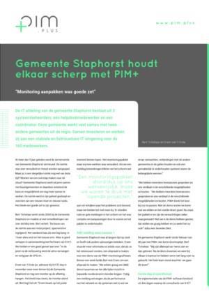 ICT Gemeente Staphorst houdt elkaar scherp mbv. PIM+ monitoringsoftware