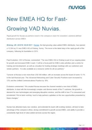 New EMEA HQ for Fast-Growing VAD Nuvias