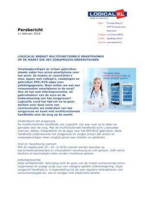 PERSBERICHT: Smartphones voor de zorg op de markt die zorgproces volledig ondersteunen