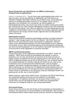 Duynie Group kiest voor Fleet Planner van AMCS om planning en transportroutes te optimaliseren