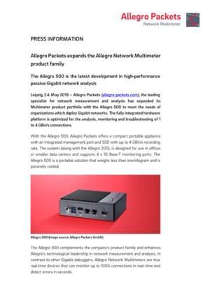 Allegro Packets breidt de Allegro Network Multimeter productenfamilie uit