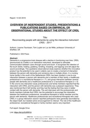 Overzicht van onafhankelijke onderzoeken, presentaties en publicaties naar CRDL-effecten bij Ouderen met dementie en VB