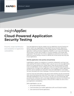 Rapid7 InsightAppsec Product Brief