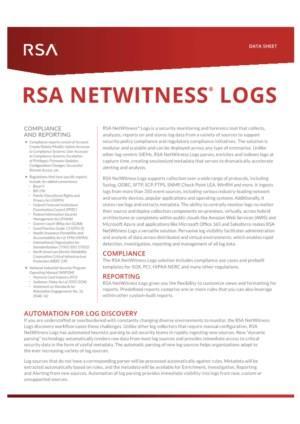 RSA NETWITNESS LOGS