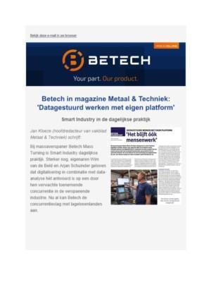 Betech in magazine Metaal & techniek: 'Datagestuurd werken met eigen platform'