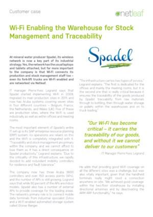 Customer Case - Spadel: Wi-Fi Enabling the Warehouse for Stock Management and Traceability