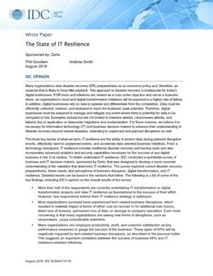 Onderzoeksrapport: IDC - The State of IT Resilience 2018