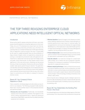 The Top Three Reasons Enterprise Cloud Applications Need Intelligent Optical Networks