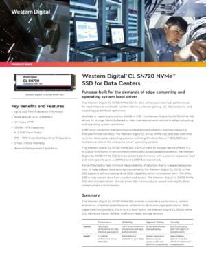 Western Digital® CL SN720 NVMeTM SSD for Data Centers