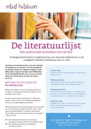 De literatuurlijst: een andere kijk op boeken voor de lijst - Tips voor docenten in het voortgezet onderwijs
