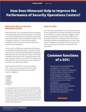 How Mimecast® Helps to Improve the Performance of Security Operations Centers