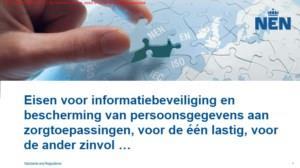 Eisen voor informatiebeveiliging en bescherming van persoonsgegevens aan zorgtoepassingen