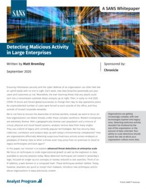 Detecting Malicious Activity in Large Enterprises