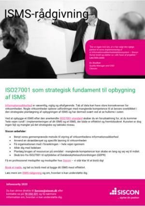 ISO27001 som strategisk fundament til opbygning  af ISMS