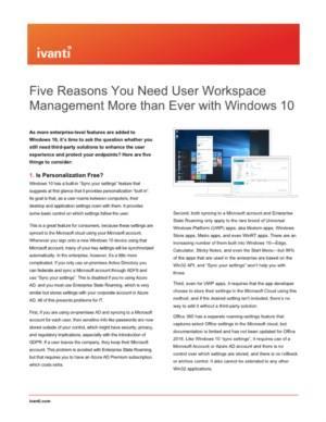 Vijf redenen waarom u User Workspace Management meer dan ooit nodig heeft met Windows 10
