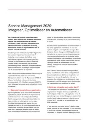 Service Management 2020: Integreer, Optimaliseer en Automatiseer